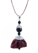Sterling Silver Sardinian Doll Brocade Dress Pendant with Red Cord
