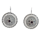 Sterling Silver Sardinian Button Earrings with
