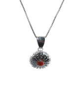 Sterlin Silver Sea Urchin Necklace with Coral