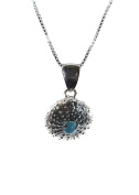 Sterlin Silver Sea Urchin Necklace with Turquoise