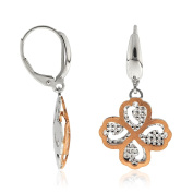 Gioiello Italiano - White and rose gold four-leaf-clover earrings