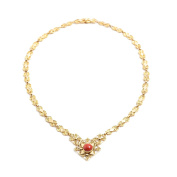 18ct Gold Necklace with Central Coral
