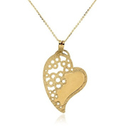 Gioiello Italiano - Yellow gold necklace with heart and flowers pendant