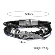Lekima Classic Bracelet Bangle Cuff Angle Wing Feather Braided Leather Alloy Buckle Wrap Hand Rope Jewellery Gift For Men