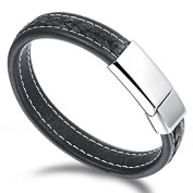 Ilove EU Men's Stainless Steel Genuine Leather Bracelet Bangle Cuff Black Silver Bikers Leather Braided with Magnetic Clasp
