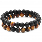 Belons Couple Stretch Bracelet 8mm Tiger's-Eye & Black Matte Agate Beads Distance Bracelet Set, 2pcs