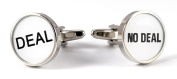 gemelolandia – Cufflinks Deal & NO DEAL – Treatment or not Treatment of Round Shape, White and Steel