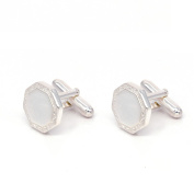 EME Men's Polish Octagon 925 Sterling Silver Cuff Links