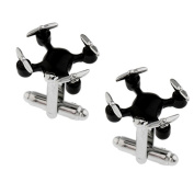 3D Black Drone High Tech Cufflinks Cuff Links