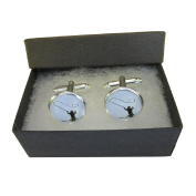 Handmade Sports Inspired - Fishing - Mens Silver Plated Cufflinks - Gift Boxed