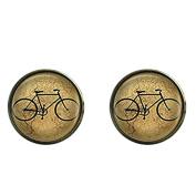 Retro Bike Cufflinks,Bicycle Men Cuff links,Sport Picture Tie Bar,Gift for Men