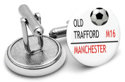 Hand made to order Old Trafford fooot ball road sign mens cufflinks - supplied in gift pouch