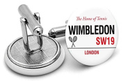 Hand made to order Wimbledon road sign mens cufflinks - supplied in gift pouch