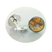 World Map Cufflinks Silver plated Old World Map Cuff links for men and women Yellow Vintage round glass