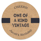 Custom Milestone Happy Birthday - Dashingly Aged to Perfection - Personalised Birthday Party Circle Sticker Labels - 24 Count
