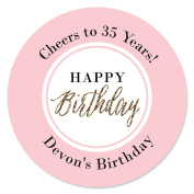 Custom Chic Happy Birthday - Pink, Black and Gold - Personalised Birthday Party Circle Sticker Labels - 24 Count