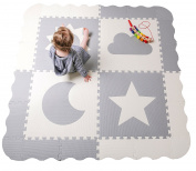Large Interlocking Baby Play Mat with Sides – Extra Thick Non Toxic Foam Floor Tiles in Grey and White 150cm by 150cm