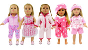 5 Lots Bitty Baby Doll Dress Clothes, AOFUL Fashion Bunny Pink Pyjamas Romper Skirt Outfits Fits 41cm - 46cm inch american girl Dolls Set of 5
