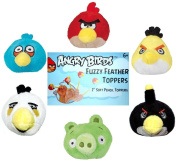 Angry Birds Plush Fuzzy Feather Toppers Flinger Set of 6 Officially Licenced By Rovio Model: