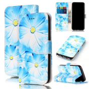 For Samsung Galaxy S7 Marble Case, Sunroyal Magnetic Closure Creative Marble Stone Ultra Slim PU Leather Wallet Card Pockets Kickstand Feature Flip Full Body Protective Case Cover for Samsung Galaxy S7 G9300 - Blue Flower