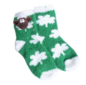 Green Fleece Kids Slipper Socks With Whit Shamrock Design & Soft Seamus Sheep Head