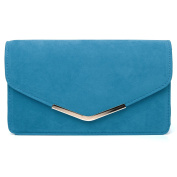 LUCKY Turquoise Blue Faux Suede Medium Size Clutch Bag