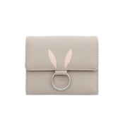 Badiya Women Leather Trifold Short Wallet Rabbit Pattern Button Clutch Bag Credit Card Holder