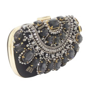 Black Crystal Evening Purse Metal Clutches Silver Beaded Bridal Wedding Box Clutch Bags