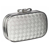 Ivory Woven Satin Crystal Bow Clasp Clutch Evening Wedding Bag