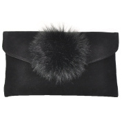 Beautiful Faux Fur Pompom Small Suede Envelope Purse Clutch Bag, Clutch Purse