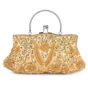 Kisschic Vintage Handmade Beaded Sequin Design Clutch Purse Evening Bag