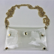 Clear See Through Clutch Handbag w Gold Chain Strap, NFL Stadium Approved Clear Purse