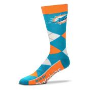 NFL Miami Dolphins Argyle Unisex Crew Cut Socks - One Size Fits Most
