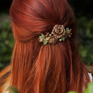 QueenMee Flower Hair Clip Rose Hair Accessory Diamante Hair Clip Flower Hairclip Rhinestone Barrette Wedding Hair Clip Wedding Hair Accessory Diamante Hair Grip Crystal Hair Clip Hair Jewellery Hair Jewellery Large Hair Clip (Brown)