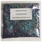Mixed Chunky Glitter for Nail Art 10g bag of Mermaid Royal Blue Light Blue Holographic Pink Purple Emerald Green