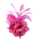 Cheerlife Corsage Hair Flower Fascinator/Corsage with Feather Hair Flower Fascinator on a Beak Clip and Safety Pin Brooch Flowers Available in Various Colours