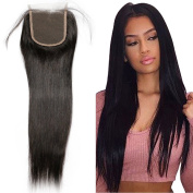 Brazilian Top Lace Frontal Closure 4*4 With Baby Hair - Unprocessed 7A Virgin Human Hair Straight Weave Natural Black - 41cm