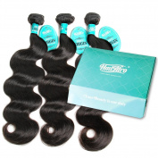 HmtAfro Body Wave 360 Lace Closure and Brazilian Weave Bundles Natural Colour
