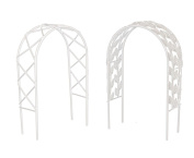 Set of Two - Miniature Fairy Garden Arches mini metal trellis arbour - 18cm high - WHITE