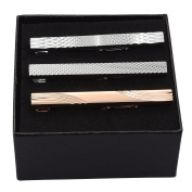JOVIVI 3pc Mens Stainless Steel Luxury Fashion Necktie Clips Bar Mix Variety Set - Black Gift Box,Father's Day Gift