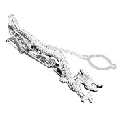 MGS Men's Tie Bar Clip Clasp Chinese National Flying Dragon Copper Silver Suit Shirt Wedding Gift