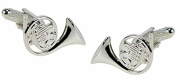 French Horn Cufflinks - silver finish