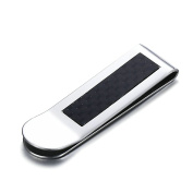 Stainless Steel Carbon Fibre Money Clip for Men Boy Cash Holder High Polished Silver 53MMx16MM Onefeart