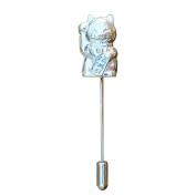 Fine Pewter Maneki-Neko Beckoning Cat Lapel Pin, Handcast By William Sturt