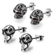 Aroncent Men Stud Earring Stainless Steel Ear Stud Vintage Punk Gothic Skull Black 4PCS 2 Pairs