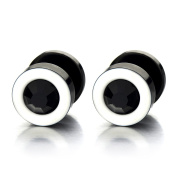 Mens Womens White Black Stud Earrings Steel Illusion Tunnel Plug Screw Back with Black Cubic Zirconia