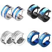 Zysta 4 Pairs Men Jewellery Set Huggie Hinged Hoop Dangle Earrings, Stainless Steel, Hypoallergenic, Urban Hoop Earrings