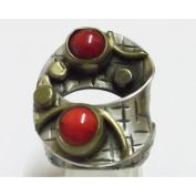 Heavy silver antique with coral ring