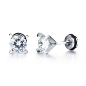 Ilove EU Cubic Zirconia Silver White Dragon Claw Round Retro Men's Stainless Steel Stud Earrings