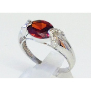 Garnet cubic zirconia pave silver ring